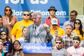 Former president BILL CLINTON speaks to a crowd of supporters at Los Angeles Trade-Technical College in support of his wife, 2016 democratic presidential candidate HILLARY RODHAM CLINTON.